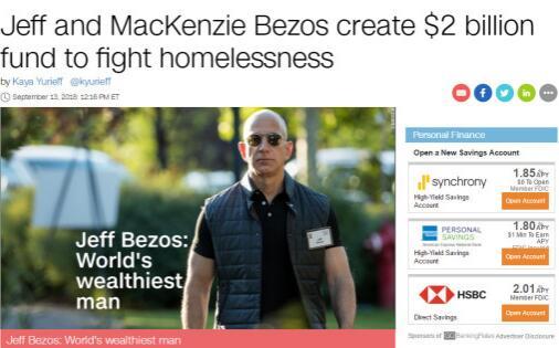 贝索斯夫妇创立20亿美元基金以救助无家可归者